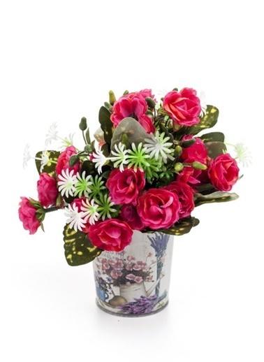 DecoTown Metal Çiçek Desenli Oval Saksı Renkli